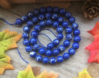1 Strand Blue Imperial Jasper Gemstone Round Loose Beads For Jewelry Necklace Spacer Beads Charms
