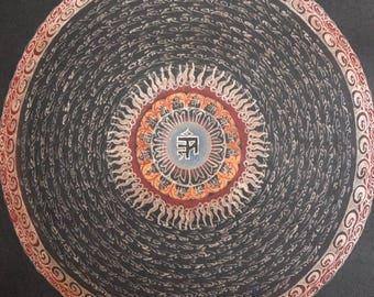 Tibetan Thangka Painting Scroll, Buddhist Yantra Mandala Painting on Cotton Tibet, Meditation Art, FREE SHIPPING