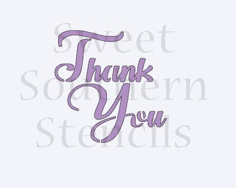 Thank You Brush Script Cookie Stencil