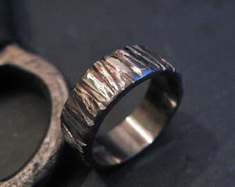 Mens Wedding Band Oxidized Sterling Silver Gold Men's Wedding Ring Bark Ring Unique Wedding Ring 6mm Silver Man Ring Man Wedding Band Black