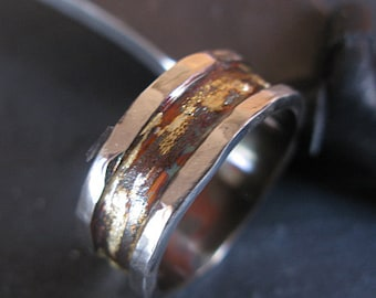 Rustic Mens Wedding Band Men's Wedding Band Unique Wedding Band Man Wedding Band Man Wedding Ring Silver Gold Ring Oxidized Silver Rim Edge