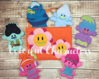 Happy trolls finger puppet set, felt toys, stocking stuffers, poppy, party favors, imaginative play, toys, branch, made to order