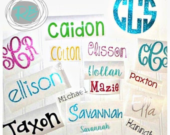 """SALE * SET of THREE 3"""" long/width Vinyl Name Decal Decals- Name Sticker- Personalized Name Sticker- Vinyl Monogram- Back to School Labels"""