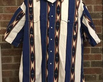 Vintage men's Wrangler pearl snap shirt XXL blue wrangler pearl snap shirt, vintage wrangler shirt, vintage pearl snap shirt size XXL