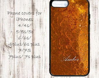 Custom name phone cover for iPhone 4/4s/5/5s/5c, iPhone 6/6+/6s/6s Plus, iPhone 7/7+ cases, marble close up iPhone case, custom name amber