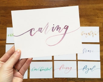 Custom 5x7 Single Word Calligraphy