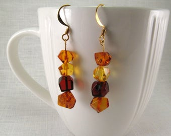 "Baltic Amber Earrings Dangle 1.93"" Mix Color Beaded Amber Faceted Amber Jewelry"
