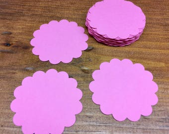 Scallop Circle Die Cuts - Pink Scallop Circles - Circle Tags - Baby Shower Tags - Card Stock Die Cuts - 24 Count