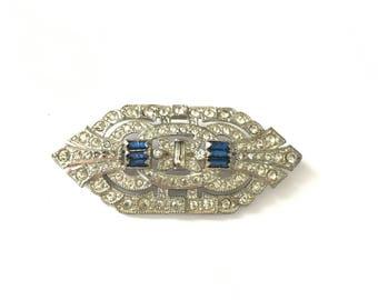 Vintage Deco Clear Paste Rhinestone Brooch Pin