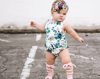 Baby girl romper / Floral baby romper / Toddler girl romper / Girls romper / Boho baby girl clothes / Summer baby girl clothes /Girls outfit