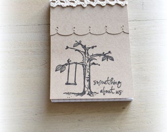 Book romantic kraft, small block notes, memo with lace