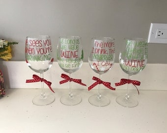 Christmas Wine Glasses- Set of 4!