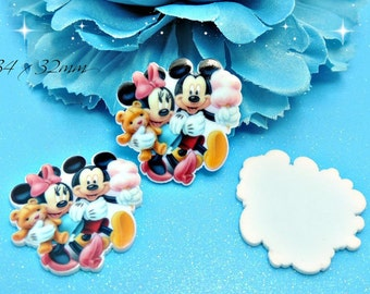 Set of 5 Mickey And Minnie Mouse Planar Resin Cabochons Flat Back Scrapbooking Hair Bow Centers Card Making Crafts Embellishments