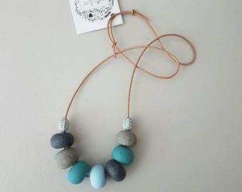 Blue grey and granite clay beaded necklace/ polymer clay/ blue necklace/ beaded necklace/ leather cord / clay jewellery, necklace
