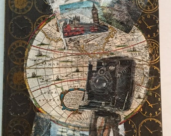"JOURNAL 6"" x 8"" Decoupage Upcycled Embossed Clocks, Vintage Travel Pictures Around the World"