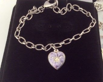 Vintage Sterling Silver Enamel 1940s Pansy Puffy Heart Charm Bracelet