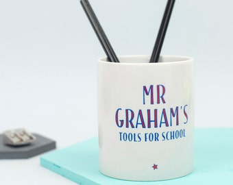 Teacher's 'Tools For School' Desk Tidy - personalised desk tidy, hashtag, office desk accessories, unique teacher gift, office decor