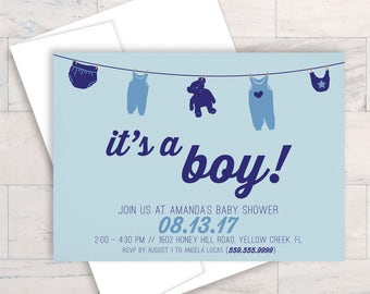 Boy Baby Shower, Invite, Shower Invitation, Baby Boy Shower, Printable Invitation, Blue Baby Shower, Boy Invitations, Little Man, It's A Boy