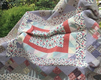 Patchwork quilt, vintage patchwork, hand sewn, hand quilted, rustic patchwork, country quilt