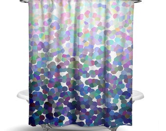 "Shower Curtain/Srping Purple Blue White Abstract Ombre Fabric Shower Curtain / Bath Curtain/ Standard Length (71""x74"") MADE TO ORDER"