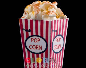 Dollhouse Miniatures Paper Bucket of Fresh Caramel Pop Corn Snack Food Decoration Supply