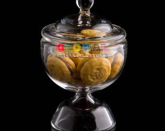 Dollhouse Miniatures Glassware Glass Round Cookie Canister Jar and Removable Lid with Round Chocolate  Filled Cookies