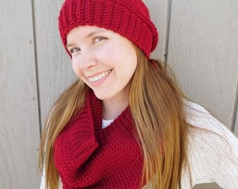Crochet cowl scarf - red cowl - red scarf - winter scarf - thick scarf  - christmas gift for her - stocking stuffer - gift for teens