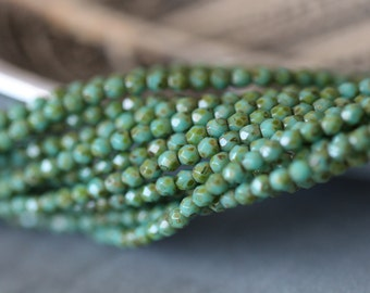 3mm (50) Czech Glass Beads, Turquoise Picasso, Fire Polished, Faceted, Seed Beads, 50 pieces