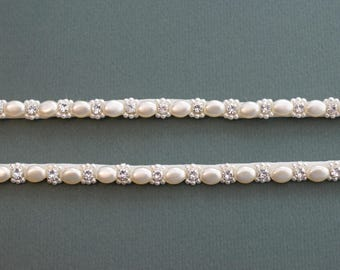 Delicate Diamante And Pearl Attachable Beaded Straps - Made To Measure - LOIS