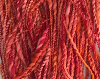 Handspun Bulky Yarn - Red Orange Variegated - Merino Wool Yarn - 2 ply - Free Shipping in the Continental US!!