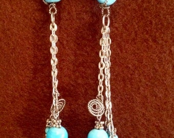 Blue Spiral Cascade Earrings