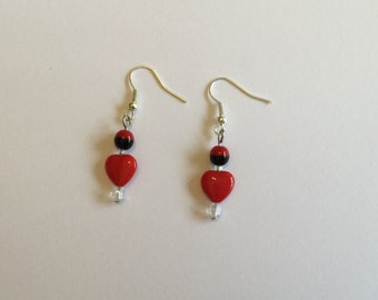 Heart earrings, dangle earrings, red hearts, Valentine's Day gift idea, bead earrings