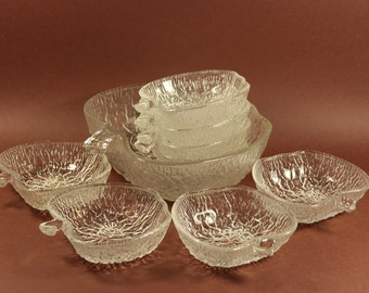 9 part set Glass bowl with bowl of 70s Made in Germany