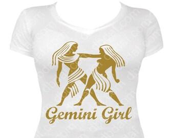 """New Zodiac Metallic Gold """"Gemini Girl"""" Tee"""