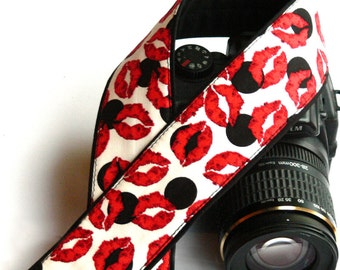 Lips Camera Strap. DSLR Camera Strap. Canon, Nikon Camera Strap. Black Red White Camera Strap. Camera Accessories