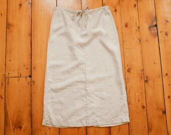 Vintage Linen Midi Skirt