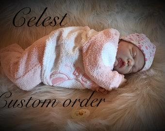 "Reborn baby, 21"" Celest , pierced ears, custom order"