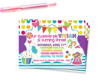 Candy Birthday Party Invitation, Candyland Invitation, Sweet Shoppe Invitation, Printable Candy Birthday Invitation