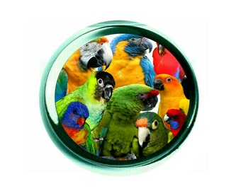 Parrot Family Glass Paperweight (PG-0755)