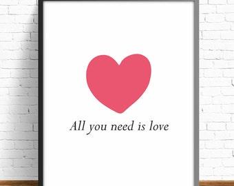 valentines day,valentine illustration,4 SIZES INCLUDED,wall art print,wall art decor,love print,heart print,living room art
