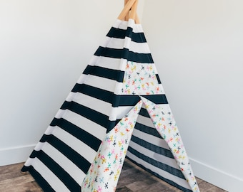 Navy and White teepee play tent with toy jacks accent fabric