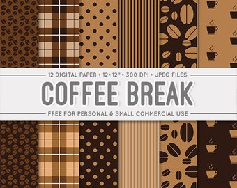 "50% OFF SALE Coffee digital paper ""Coffee Break"" brown background coffee bean, cup, stripes and polka dot pattern. Free for commercial use"
