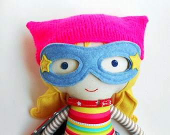 Pussycat hat for superhero dolls, pink pussyhat knitwear doll clothing, kitty beanie, cat kitten hot pink hat for superhero women's march