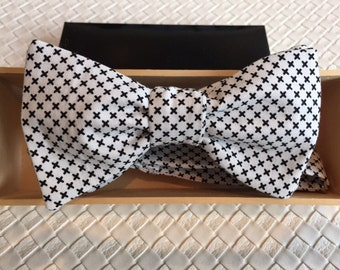 Mens Black and White Cross Print Bow tie with Optional Matching Pocket Square and Lapel Pin