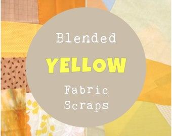 Yellow Fabric Scraps, Yellow Fabric Scrap Bundle, Blended Fabric, 4 oz, ~1 yard