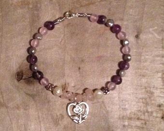 Rose Quartz Amethyst fresh water pearl & Malaysian jade bracelet with Tibetan silver love heart charm