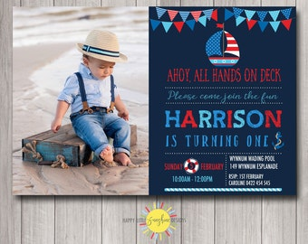 Custom Printable Boy Birthday Photo Invitation Any Age 1st Birthday Nautical theme Boat, Bunting Red, Blue, Navy and Red