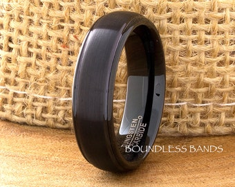 Black Tungsten Ring,Stepped,Dome,6mm,Tungsten Band,Mens,Womens,Tungsten Ring,Anniversary Ring,Black Wedding Ring,Black Tungsten,Comfort Fit