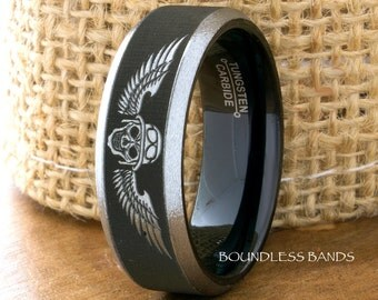 Tungsten Ring Wedding Band Black 8mm Tungsten Band Bikers Ring Tattoo Ring Tungsten Ring Mens Tungsten Ring Motorcycle Ring Anniversary Ring