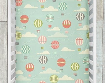Crib Sheet / Hot Air Balloons Collection by Fabricology / Gender Neutral / Nursery Set / Baby Shower Gift / Mint / Teal / Coral / Peach